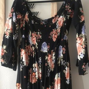 Black and Floral Maxi Dress